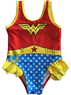85334768be6df L C Boutique Little Girls Ruffle Wonder Woman One Piece Swimsuit in Sizes  2T to 5T
