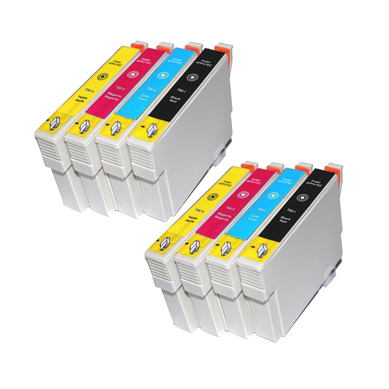 TiAN - 8 cartuchos de tinta compatibles 2 x T0611, 2 x T0612, 2 x ...