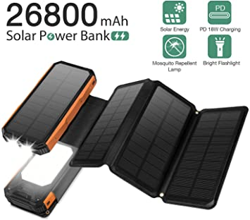 Sendowtek Cargador Solar Móvil 26800mAh Power Bank 4 Paneles ...