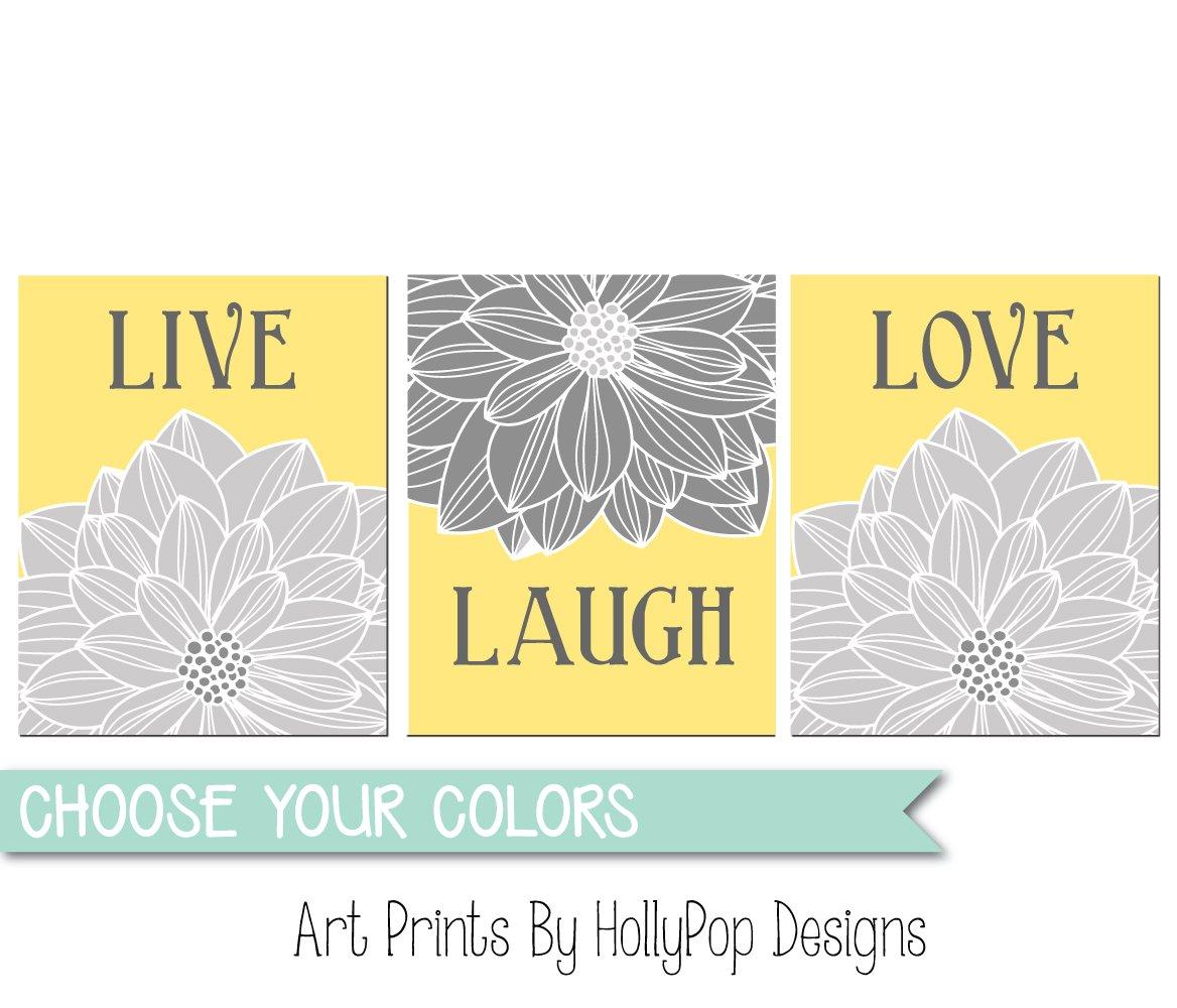 Amazon.com: Live Laugh Love, Yellow gray kitchen wall art , home ...