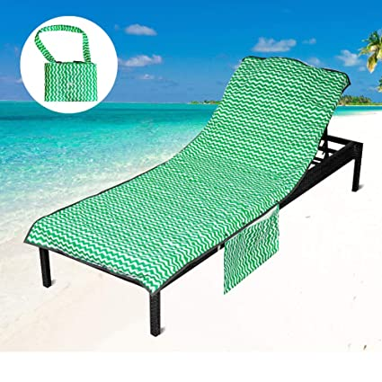 Superb Youlerbu Thickened Microfiber Beach Chair Pool Towels Swimming Pool Chaise Lounge Cover Towels With Pillow And Side Pockets Holidays Sunbathing Quick Machost Co Dining Chair Design Ideas Machostcouk