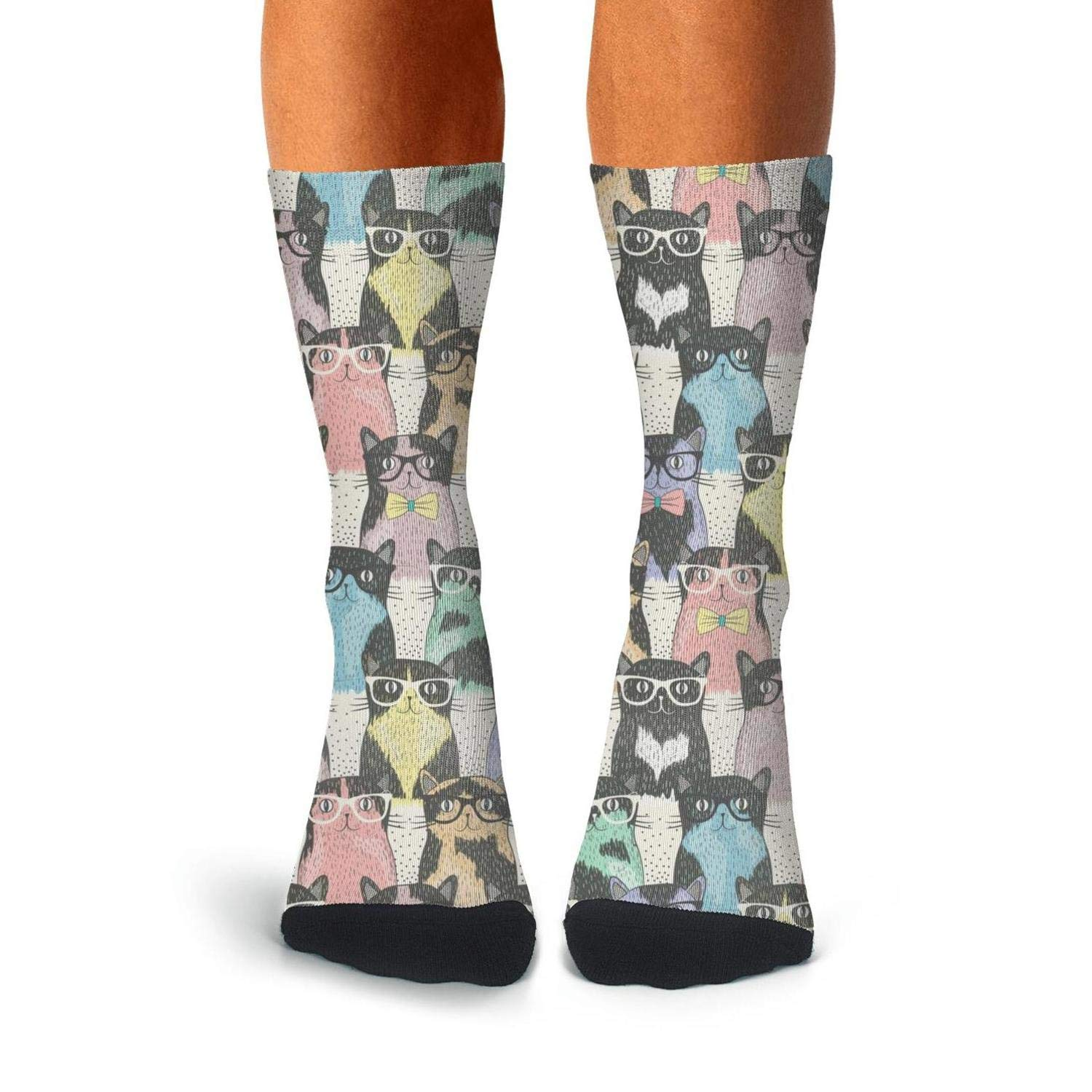Cute cat meow face Performance Hiking Non-Slid High Ankle Socks for man