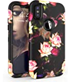 iPhone X case,ADCOOG[Flowers]Three Layers heavy duty Shockproof Soft Silicone Anti-Scratch Anti-Fingerprint Hard PC Hybrid Protective Case for iPhone X(Black+Peony)