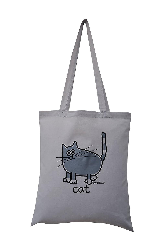 'grey cat' cotton tote bag. Grey bag. Special offer!