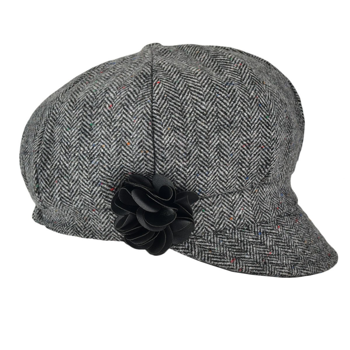 VOBOOM Women's Newsboy Caps Wool Blend Back Adjustable Stretch fit (Grey)