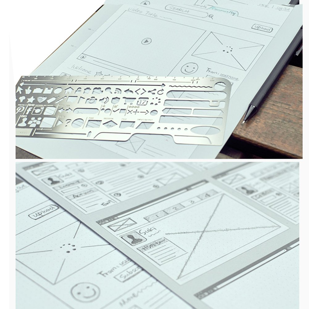 Loghot Set of 3 Draft Drawing Web Stainless Steel for UI Design Sketch Stencil Pencil Kit Template by Loghot (Image #5)