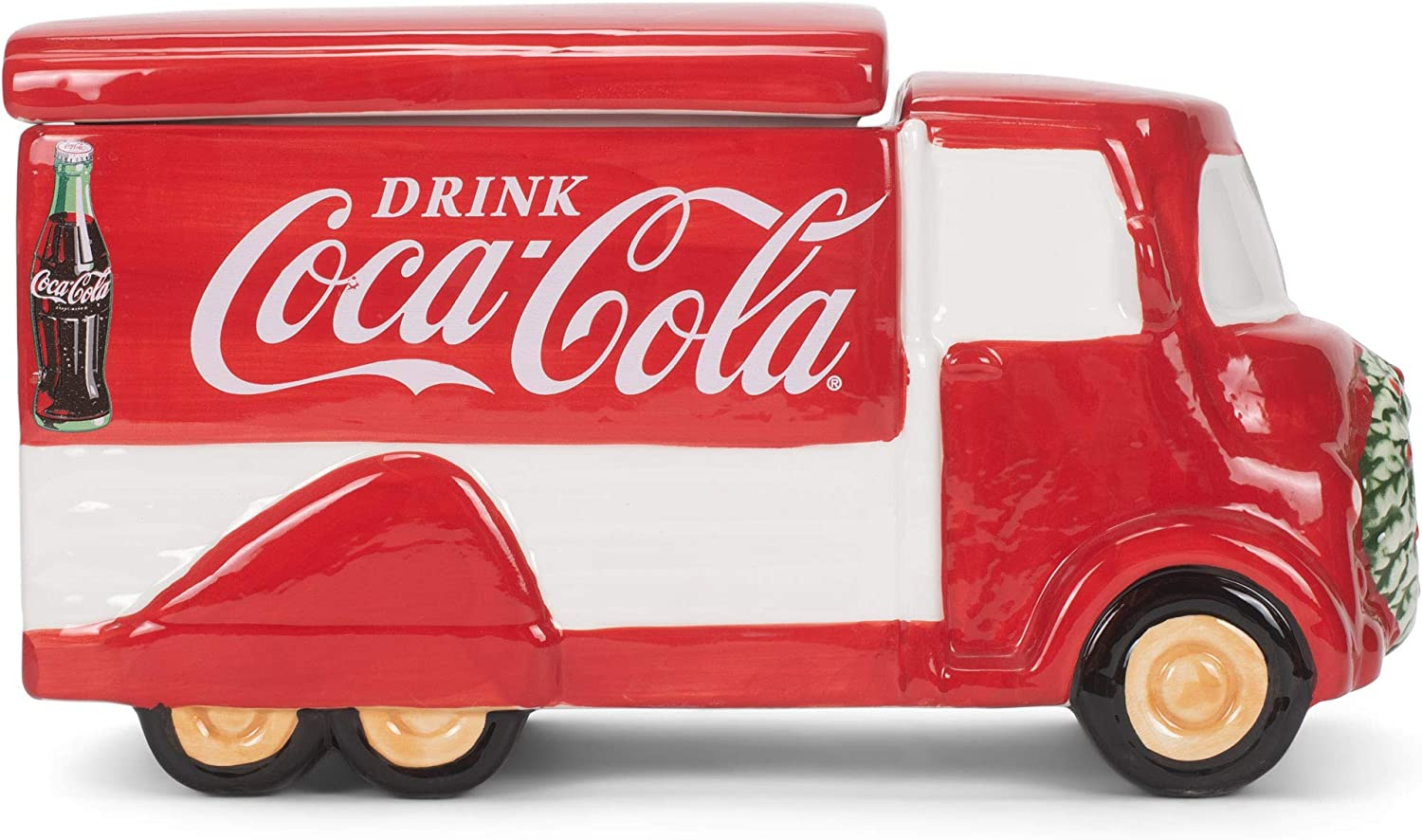 Coca Cola Vintage Delivery Truck Shaped 10.75 x 6 Dolomite Ceramic Holiday Snack and Cookie Jar with Lid