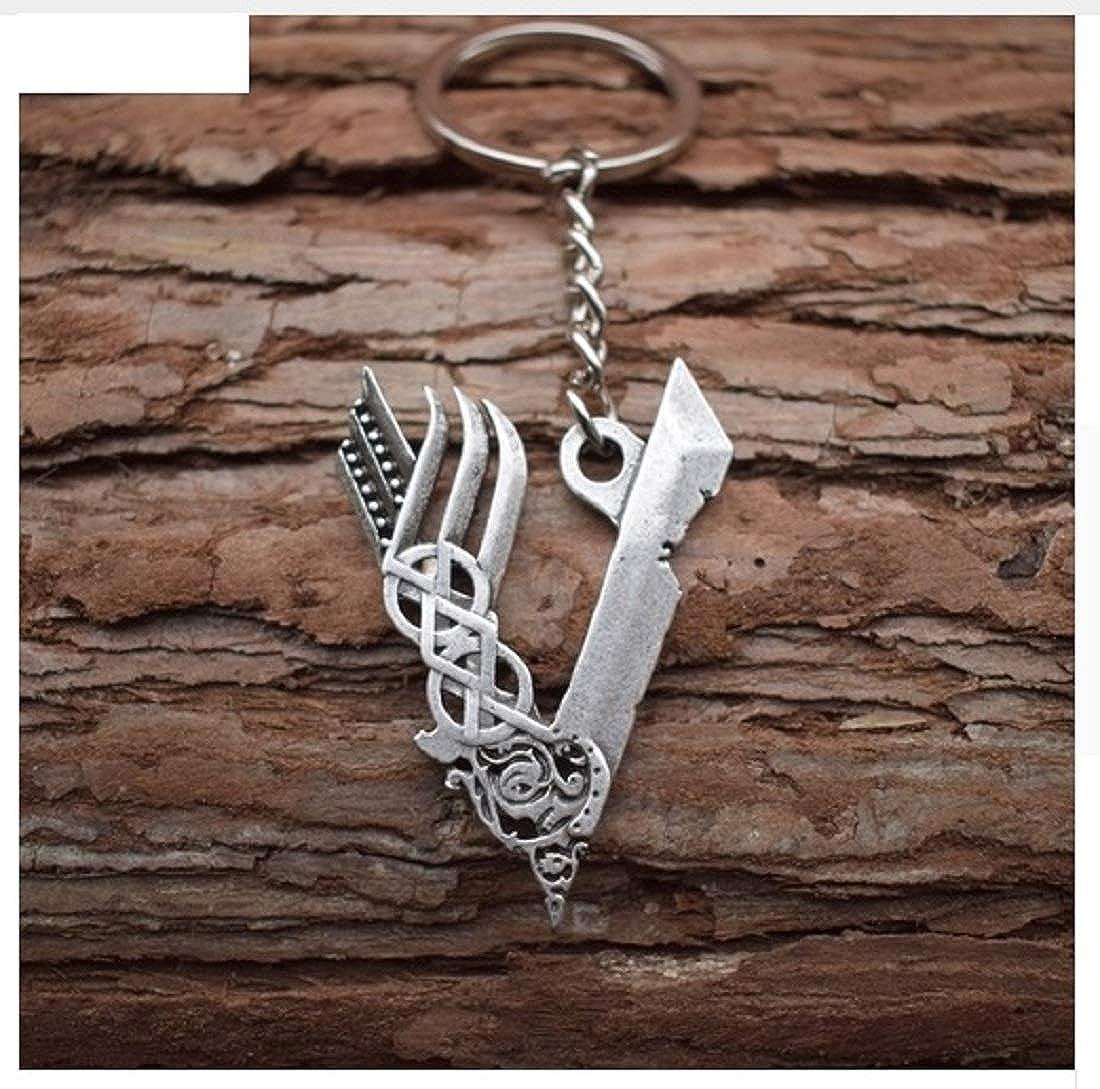 Llavero vikingo con símbolo de vikingo V, de metal, Odin | Thor | Valknut | Regalo | Hombres | Nordmann | Walhalla | mitología