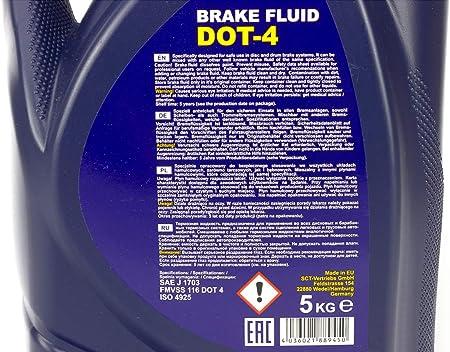Sct Germany Bremsfluessigkeit Dot 4 Bremsflüssigkeit Dot4 Bremsöl 5 L Dp88945 Auto