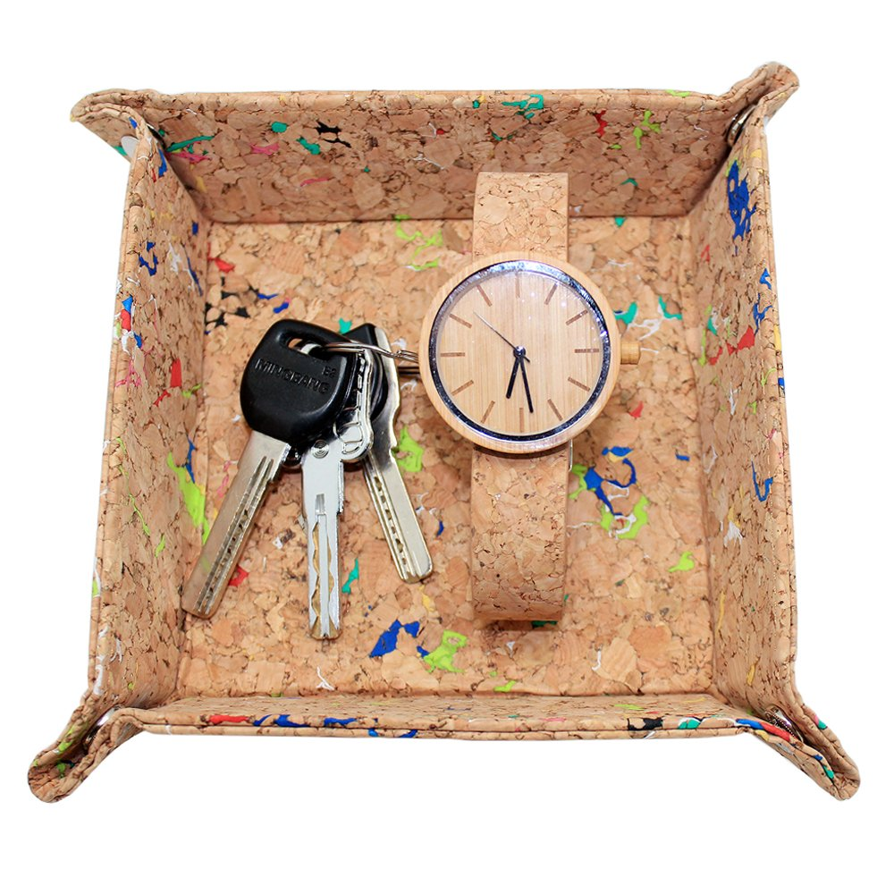 boshiho Cork Jewelry Catchall Key Coin Box EDC Valet Tray Change Caddy Bedside Box Storage Eco-Friendly Gift (Multicolor)
