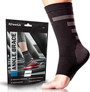 POWERLIX Ankle Compression Sleeve - Ankle Support Brace (Pair) for Men & Women – Best Ankle Brace for Injury Recovery, Swelling, Foot & Achilles Tendonitis Pain Relief - Nano socks with Arch Support