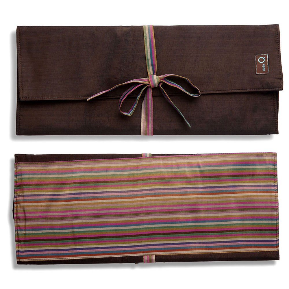 della Q Combo Knitting Case for Straight & Double Point & Circular Knitting Needles; 016 Brown Stripes 101-1-016