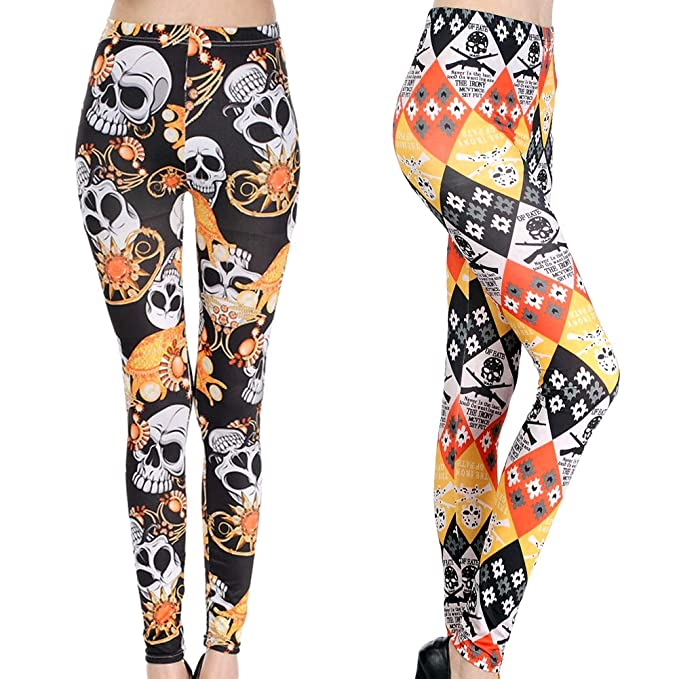 4a538b93e0260 Image Unavailable. Image not available for. Color: 2 Pack Women Girl Skull  Leggings Elastic Tights Workout Pants Skeleton Funky