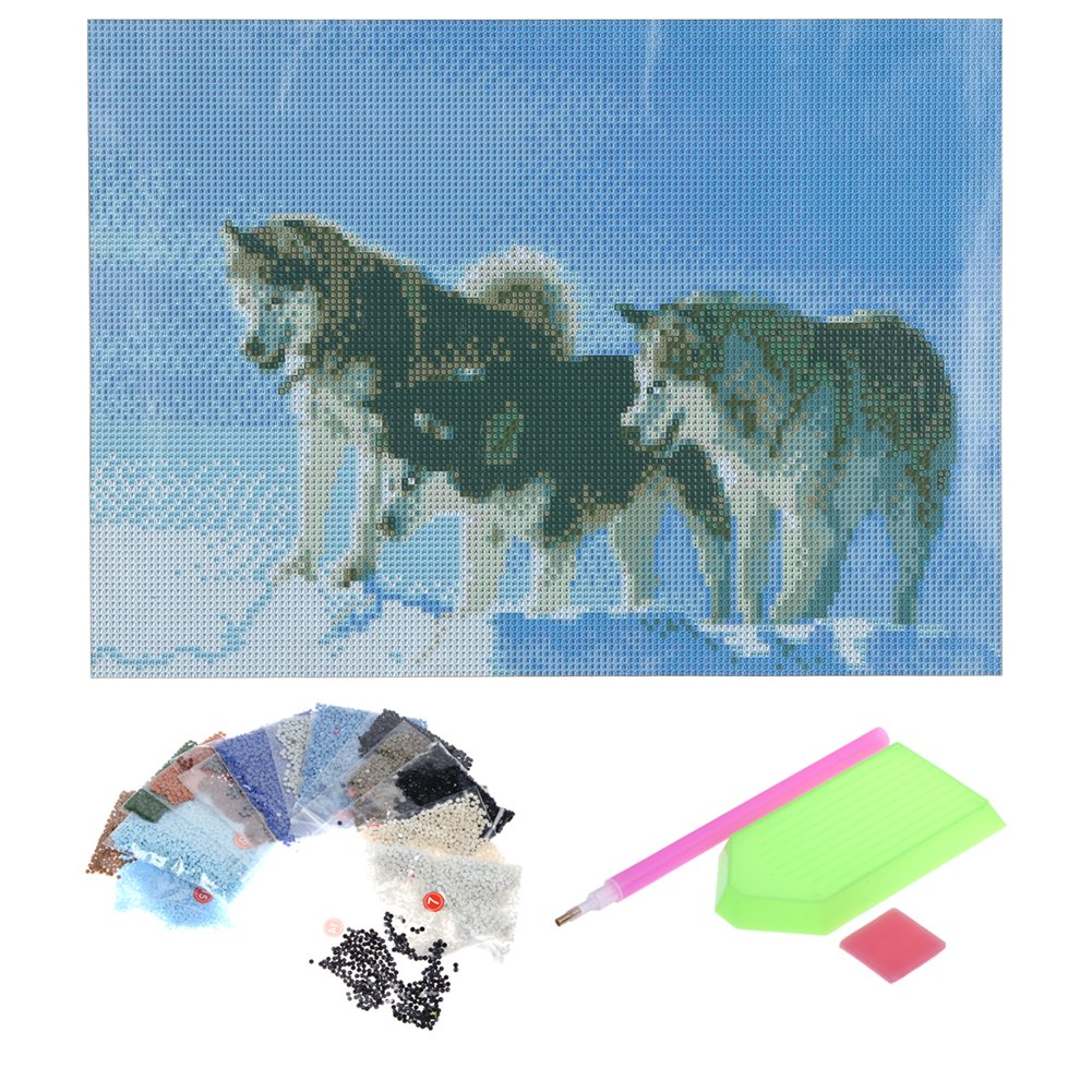 White Adorable Cat 5D Diamond DIY Painting Craft Kit Home Decor DIY Diamond Painting Kit