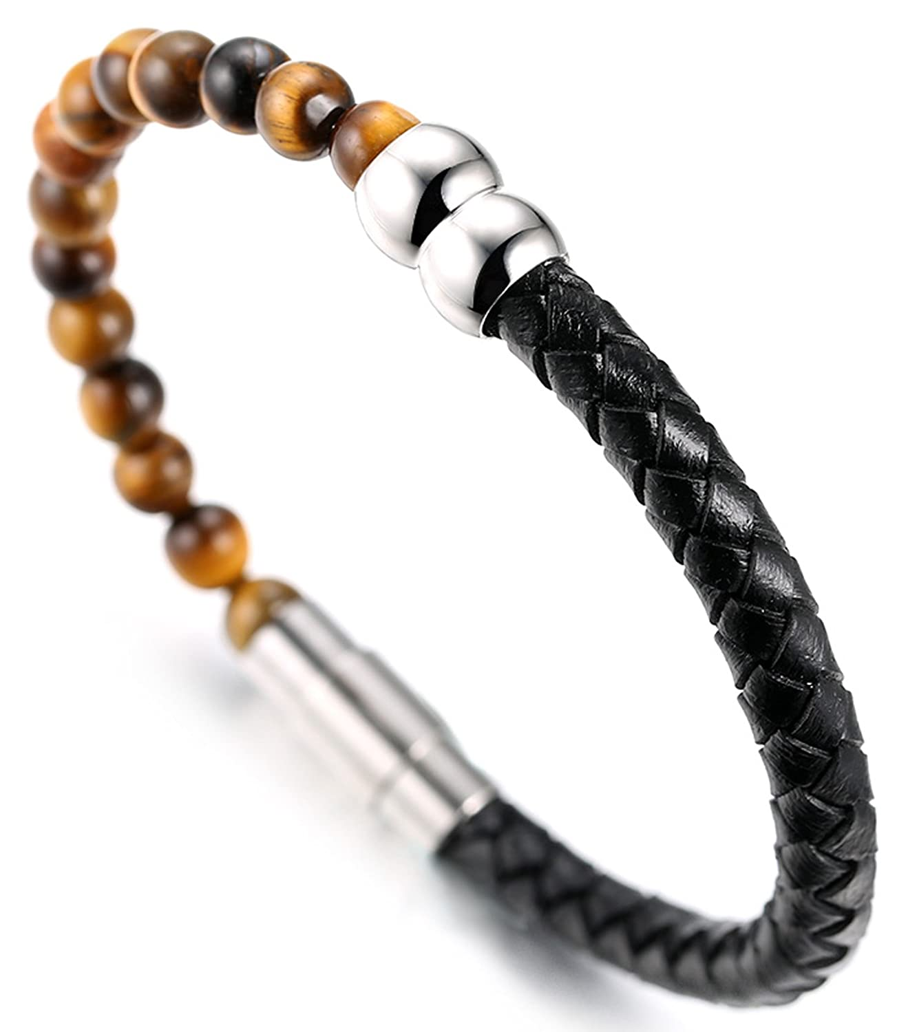 21.5cm Halukakah ● Salute The Earth ● Mens Genuine Leather Bracelet with Natural Tiger Eye//Obisidian//Agate Stone Beads 8.46 with Free Giftbox