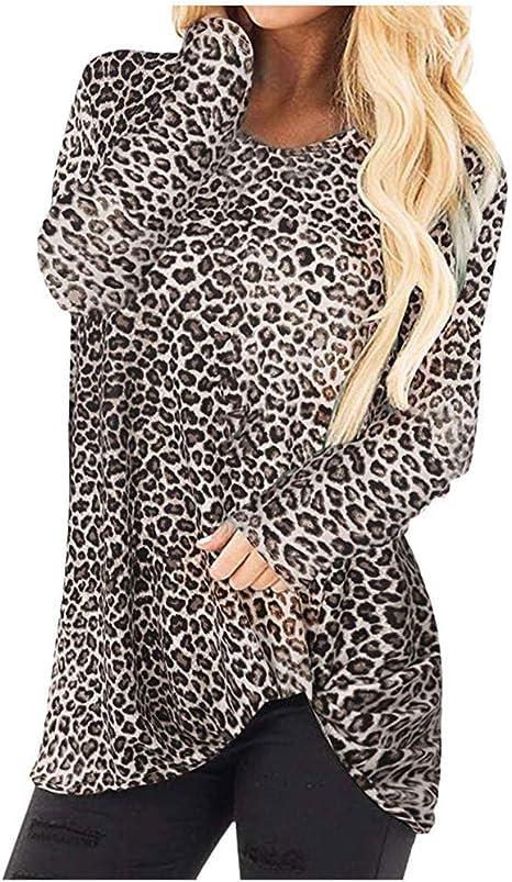 routinfly-Top da donna Camiseta de Mujer de Manga Larga con Cuello Redondo con Estampado de Leopardo, Camiseta Larga Camisa Suelta Blusa Elegante suéter Informal para otoño: Amazon.es: Electrónica