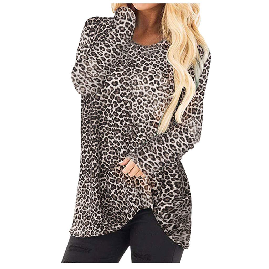 Gleamfut Womens Autumn Loose Leopard Tops Comfortable Cotton Long Sleeve O Neck Free Hem Blouse Shirt Brown by Gleamfut