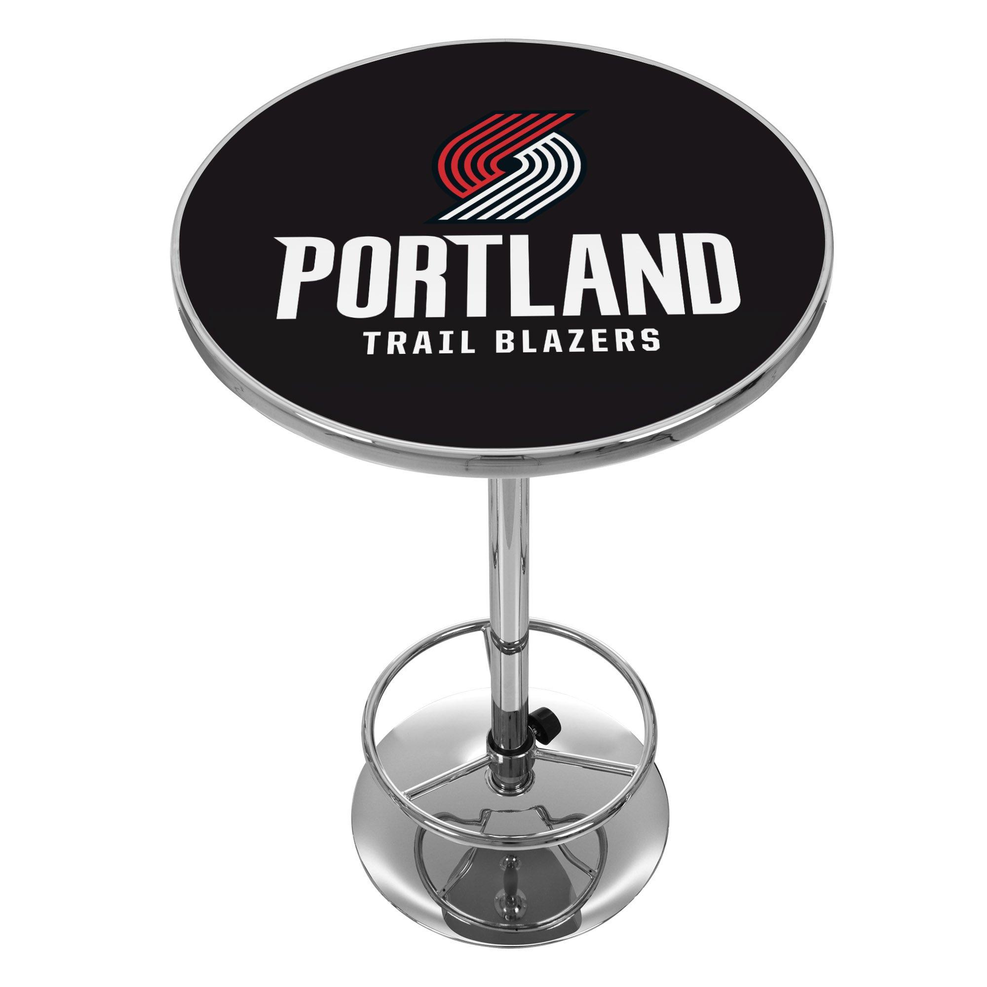 NBA Portland Trailblazers Chrome Pub Table by Trademark Global