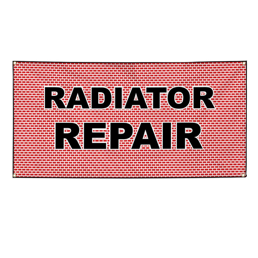 4 Grommets Set of 3 Vinyl Banner Sign Radiator Repair White Red3 Automotive Marketing Advertising White Multiple Sizes Available 24inx60in
