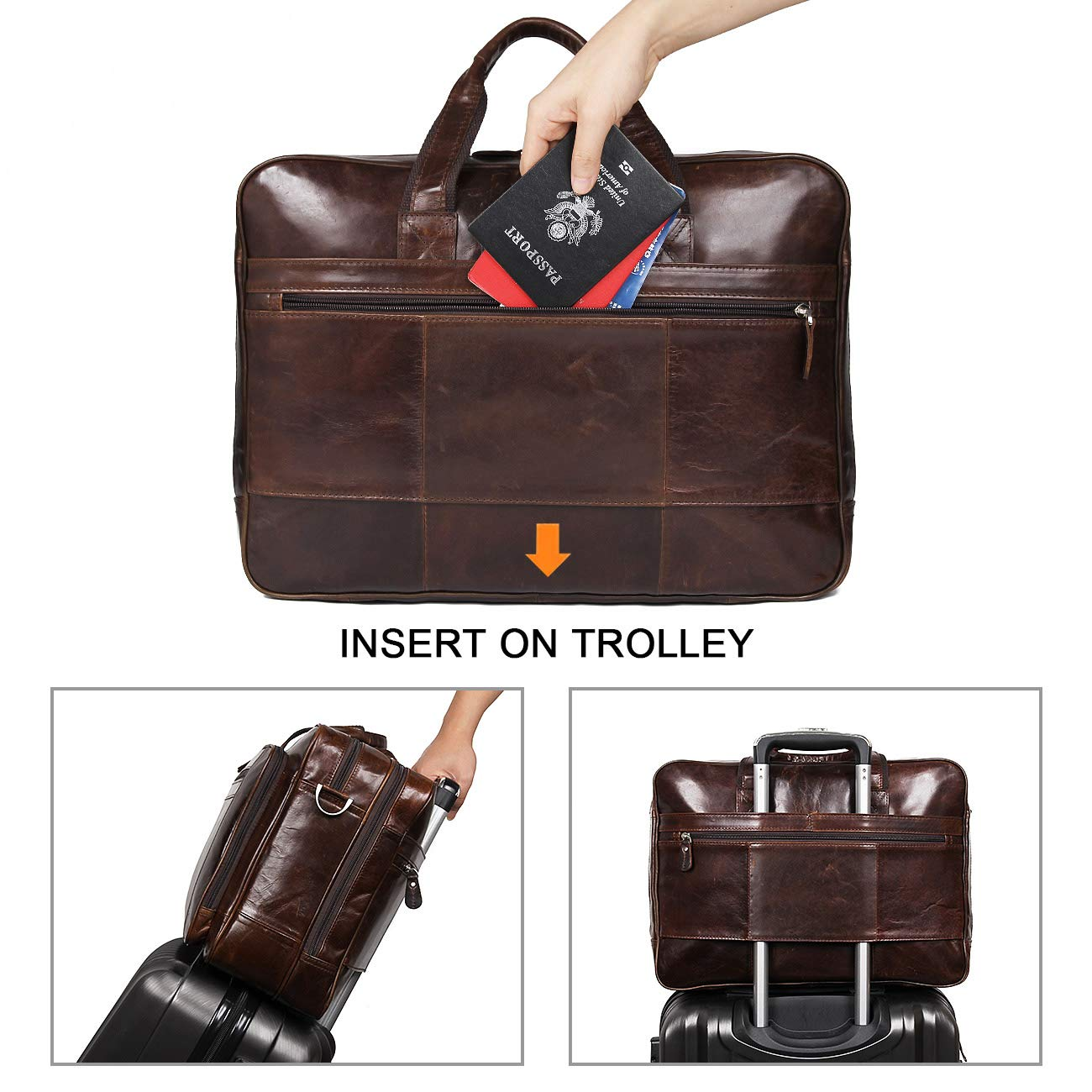 Augus Leather Briefcases for Men, Waterproof Travel Messenger Duffle Bags 17 Inch Laptop Bag (cofee-1) by Augus (Image #4)