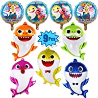 "9 Pcs Baby Shark Party Helium Balloons - 26"" Shark Family Foil Balloons with 4 Pcs 17"" Round Balloons for Shark Theme Party Supplies/Baby Shower Party Decorations"