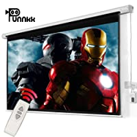 Punnkk E8 Motorized Projector Screen Size -8Ft(Width) X 6Ft(Height), 120 Inches 4:03, with Remote Control,Electric Projection Screen, Active 3D/4K Ultra HD Home Theater