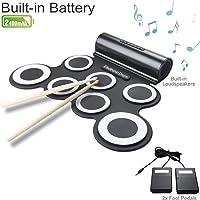 Tambour Portable en Batterie Électronique avec 7 Pad de Percussion, Roll Up Drum Pad Instrument Rechargeable avec Baguette et Pédale, Parfait pour les Débutants et les Enfants