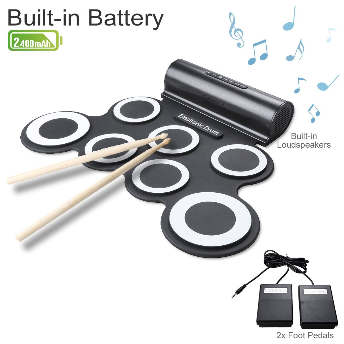 Rechargeable Electronic Roll-Up Drum Kit, Foldable Drum Set Built in Speaker With DrumSticks, Foot Pedals CoastaCloud 7 Drum Pads With Headphone Jack For Practice Starters Kids MU-D300006