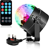 Amicool Disco LED Light 3W Crystal Rotating Ball 7 Color Changes Mini RGB Strobe Light with Remote Control for KTV Party Wedding Stage Show Christmas Festival