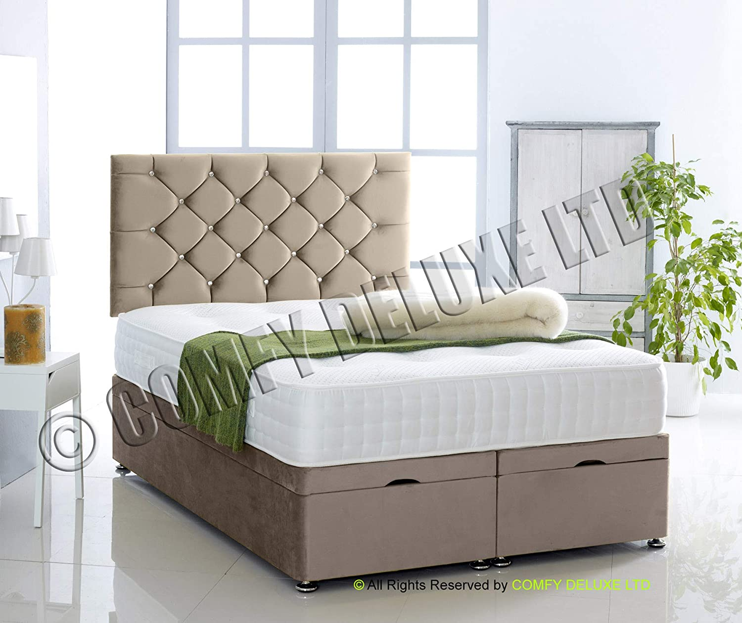 Black, 3FT Small Ottoman Bed Foot Lift Plush Velvet Base and 1000 Pocket Memory Mattress by Comfy Deluxe LTD