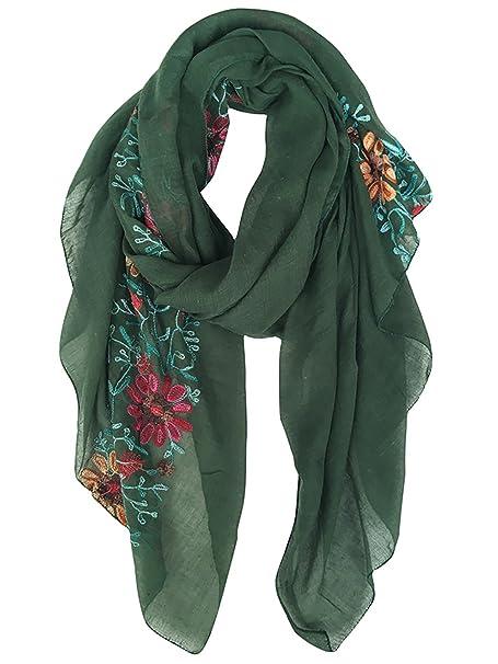 DAMILY Dame Frauen Exquisite Gestickte Baumwolle Blumen Schal Lange Schal Stola Halstuch Hijab Schals Mehrfarbig
