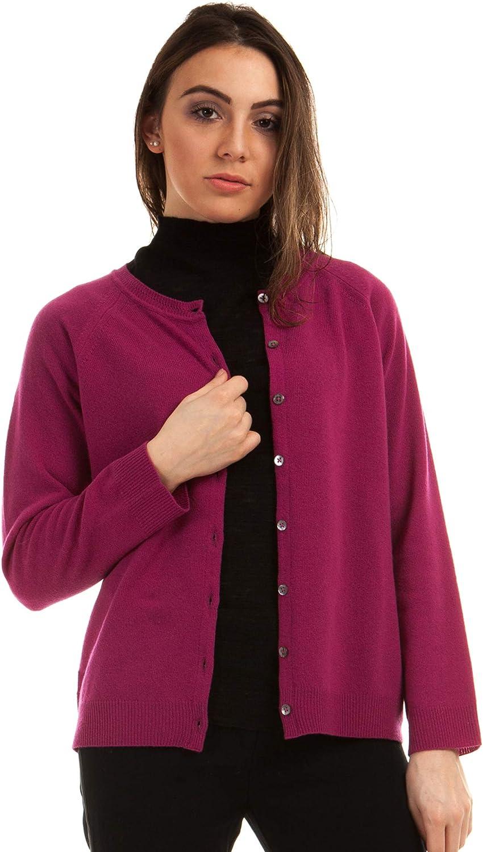 Pull Cardigan Femme Cashmere Blend Couleur Fuxia