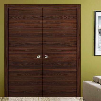 Planum 0010 Interior Double Closet Sliding Pocket Door Chocolate Ash