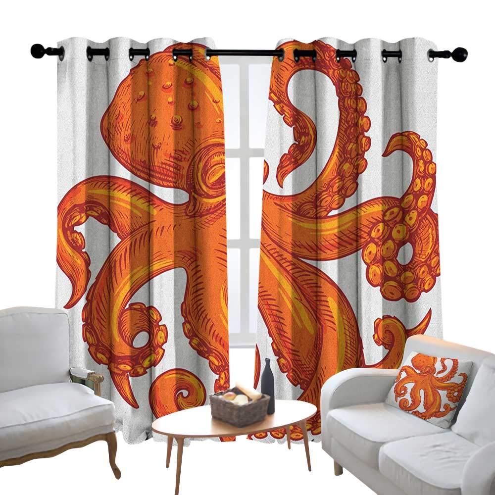 Lewis Coleridge 寝室用カーテン タコ 海洋生物 動物 恋人 花 貝 水玉 落書きスタイル ブルーホワイト 断熱 部屋を暗くするウィンドウシェード 84