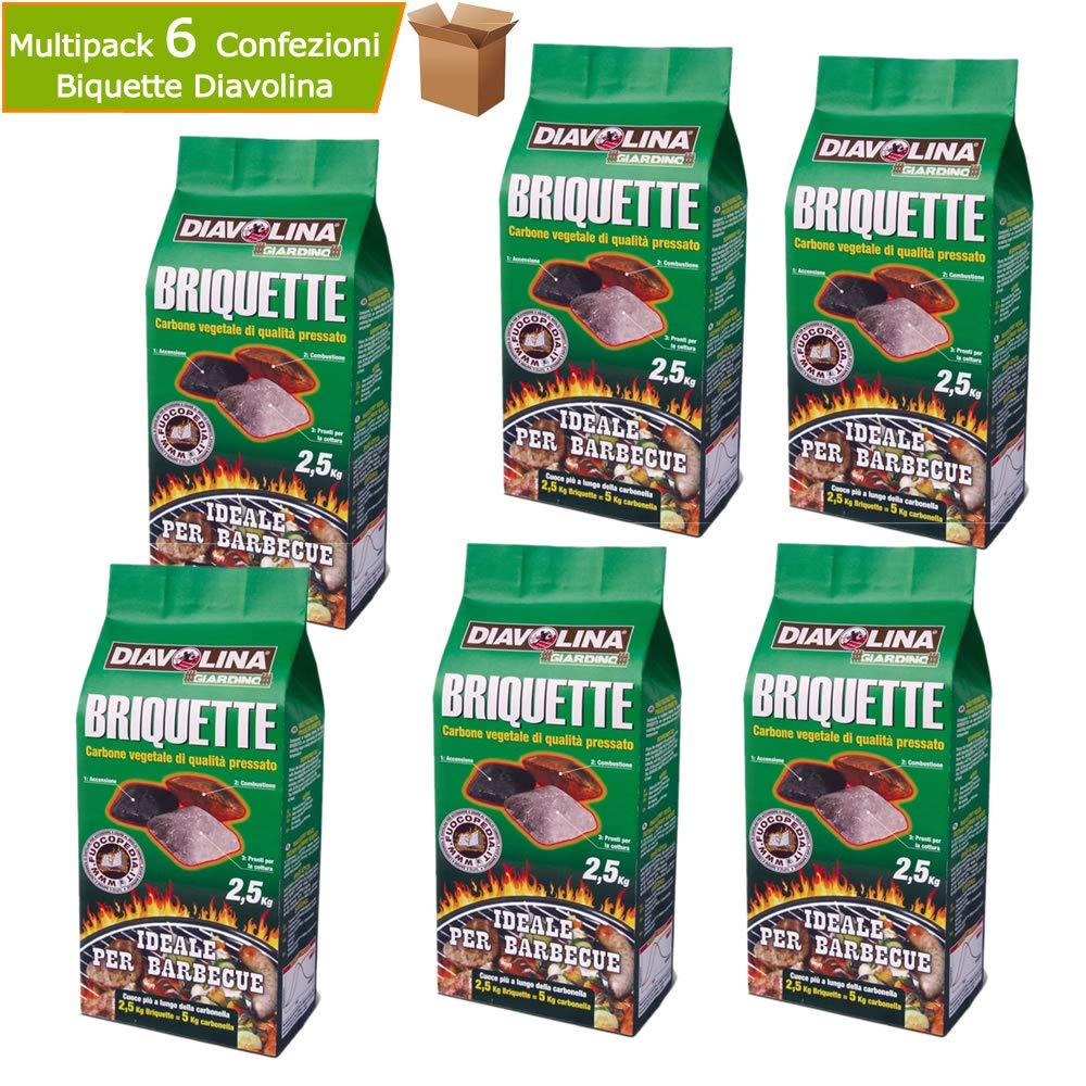 Multipack 6 Sacchetti Diavolina Briquette Carbone Vegetale Pressato 2,5 kg Cadauno