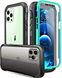 Luckymore Case Compatible with iPhone 12 Pro Max 6.7 inch, Full-Body Rugged with Built-in Screen Protector, Turquoise