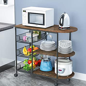 LENTIA 3-Tier Kitchen Island Cart Trolley Industrial Microwave Oven Stand Utility Storage Cart with 3 Metal Baskets, 4 Wheels - 2 Locking Wheels