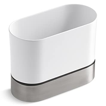 KOHLER Kitchen Dish Brush Holder, Sink Caddy, Silicone And Stainless Steel,  White