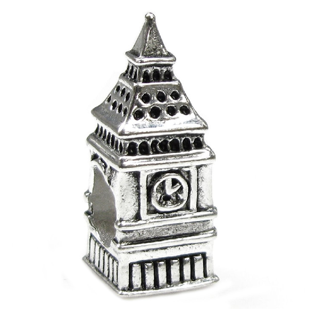Queenberry Sterling Silver Landmark Series 'London Big Ben Clock' European-style Bead Charm