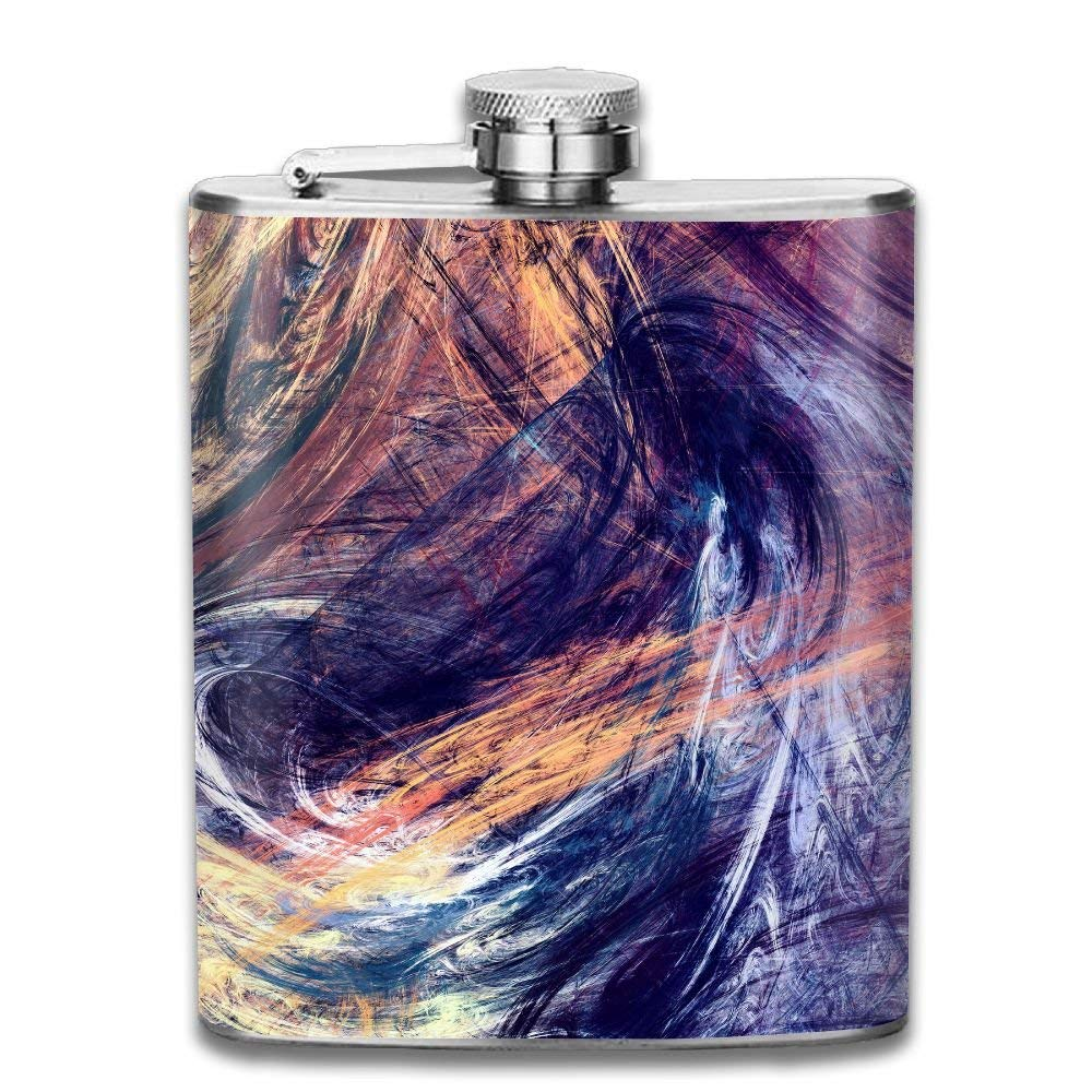 Gxdchfj Abstract Beautiful Multicolor Bright Artistic Background Dynamic Painting New Brand 304 Stainless Steel Flask 7oz