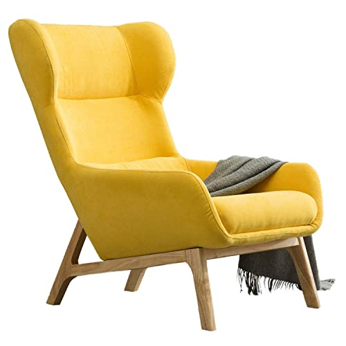 Irene House Contemporary Velvet Fabric Height Back Accent Chair,Living Room,Bedroom Arm Chair (Yellow)