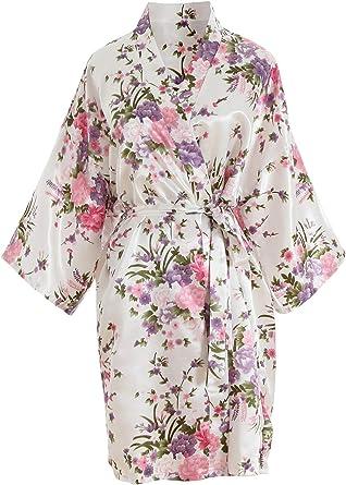 Tunica da Donna Kimono Di Seta Elegante A Fiori Sposa in Raso Morbido Accappatoio alla moda