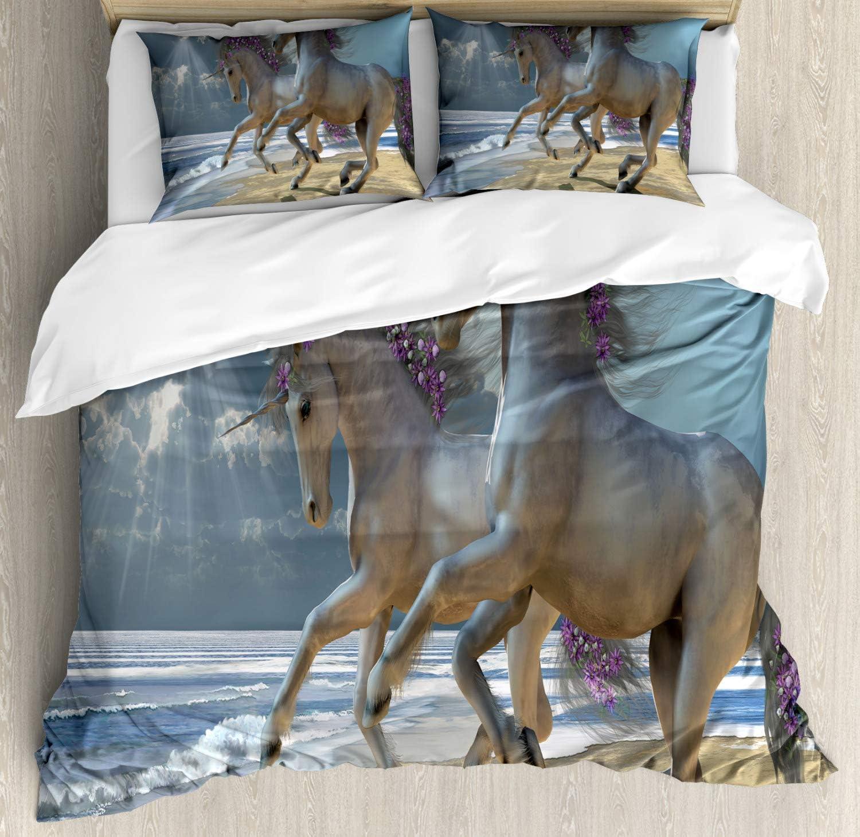 Juego de funda nórdica para caballos, Running Horses by Seashore con flores lilas adornadas con crines debajo de las vigas, juego de cama decorativo de 3 piezas con 2 fundas de almohada, Dimgray y Lil