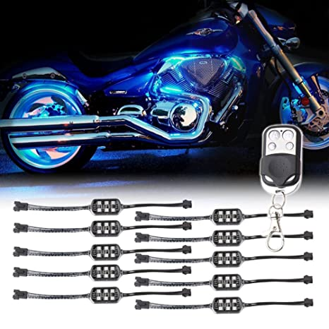 for led lighting motorcycle green strips lights itm bay flexible kit engine motorcycles bright