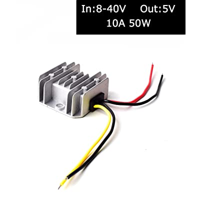 DC 12V/24V/36V to DC 5V (Accept DC 8-40V Inputs) Truck Car Step Down Power Adapter Converter Reducer Regulator for Auto Electronics Vehicle Boat Solar System - 10A 50W: Home Audio & Theater