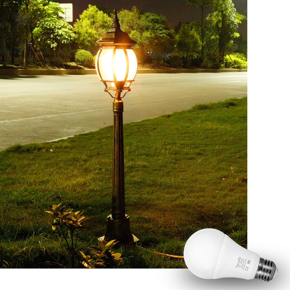 Dusk to Dawn Light Bulb Sensor Smart LED Outdoor Lighting Bulbs Lamp 7W E26/E27 Automatic On/Off, Indoor/Outdoor Yard Porch Patio Garden (Warm White, 3 Pack) by Vgogfly (Image #6)