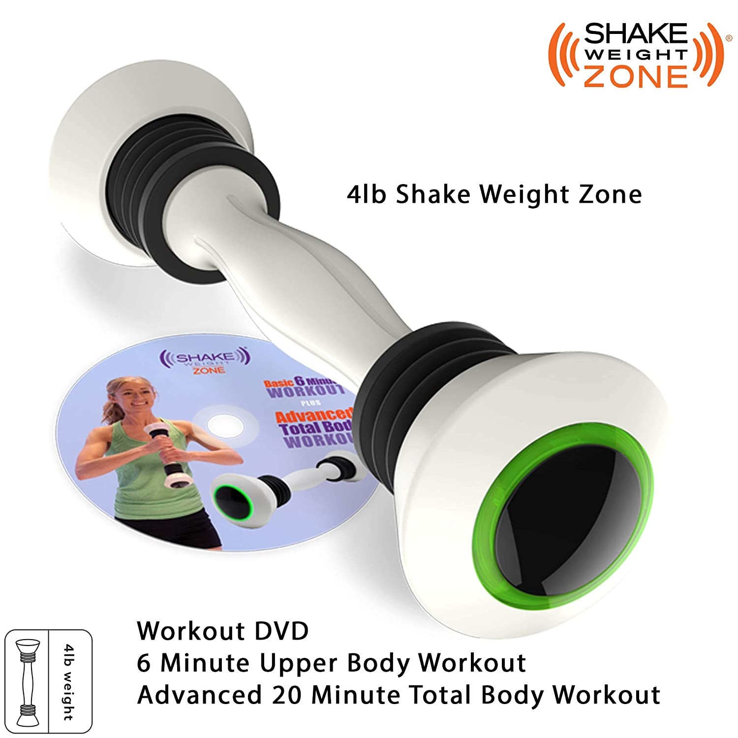 Allstar Innovations Shake Weight Zone- 4 lb Arm Firming, Muscle Toning Dumbbell, Red, Green, Orange LED Zone Ring Guides You Through Your Workout, Bonus Workout DVD Included