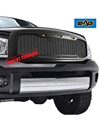 E-Autogrilles 41-0195MB EAG Replacement Upper ABS Grille with Amber LED Lights-Matte Black for 06-08 1500/06-09 Dodge Ram...