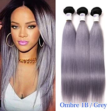 Amazon.com : GEFINE Grade 16A Black Grey Hair Weave Two Tone Ombre ...