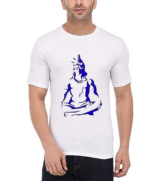 3beb3dab British Terminal Lord Shiva Mahadev Mahakaal Bholenath shivji White Color  Half Sleeve Cotton Round Neck Regular fit Printed Tshirt for men-rmt1368:  ...